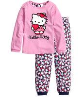 New 2014 Autumn Children Pajamas Kids Clothes Cartoon Duck Batman Superman Sleepwear Boy Girl Clothing Set Baby Pajamas Set