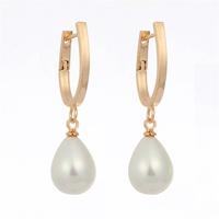 Romantic Fashion Womens Jewelry Hot Christmas Gift Teardrop White Pearl 18K Yellow Gold Plated Water Drop Dangle Earrings