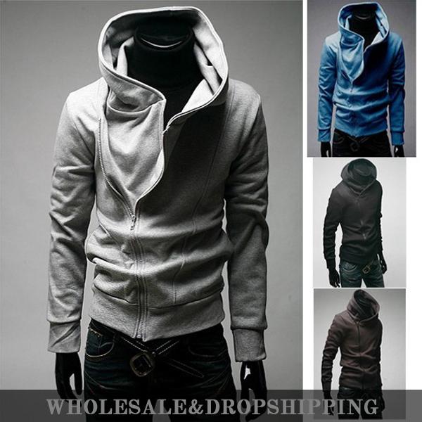 2014 New Men's oblique zipper solid color Fashion Sports Hoodies Sweatshirts, Clothing.Cotton,Korean Slim Free Shipping MHS005(China (Mainland))