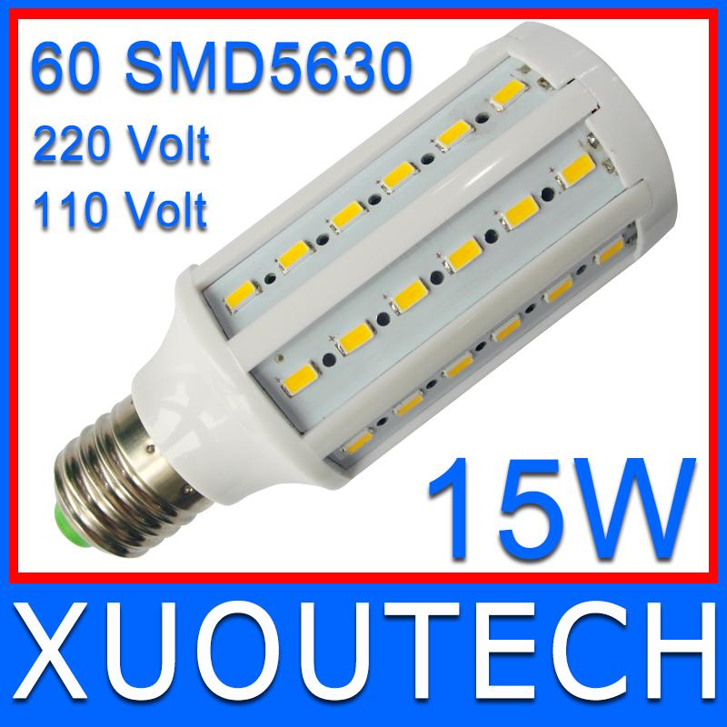 360 degree Super bright 60pcs SMD5630 15W LED Bulb E27 2400lm Corn light AC220V 230V Warm White 1 Pieces Only FREE SHIPPING(China (Mainland))