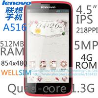 "Original   Lenovo A516 Multi language Mobile phone 4.5""IPS 854x480 Dual-core1.3G 512MB RAM 4G ROM  Android 4.2 5MP"