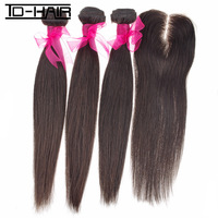 "6A 1 Piece Middle Part Lace Closure with 3pcs Hair Bundles, 4pcs/lot Brazilian Virgin Hair Extension Straight 12""-28"" TD HAIR"