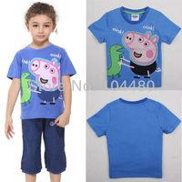 nova fashion short sleeve peppa pig curious george embroidery dinosaur baby kids children t shirt unisex girls boys t-shirt