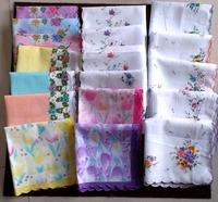 cheap 30pcs/lots floral handkerchief women hanky pocket square cotton 28*28cm 30 branch cotton 30 colors wholesale
