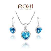 HSTORE Christmas Gift Crystal Vintage Set to Girlfriend 100% Man-made Fashion Gold Jewelry Heart Earrings+Necklace for Party