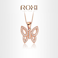 2014 New Arrival Platinum Plated Butterfly Pendant Necklace with AAA Zircon Crystal Jewelry