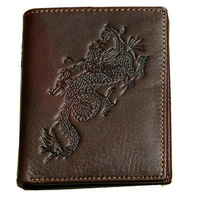 New Dragon design 100% genuine leather men's wallet head cowhide vintage pattern male purse removable card holder free shipping