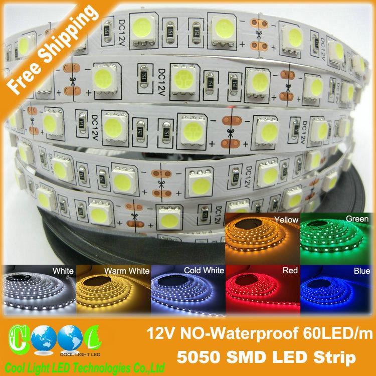 LED strip 5050 SMD 12V flexible light 60LED/m,5m 300LED,White,White warm,Blue,Green,Red,Yellow(China (Mainland))