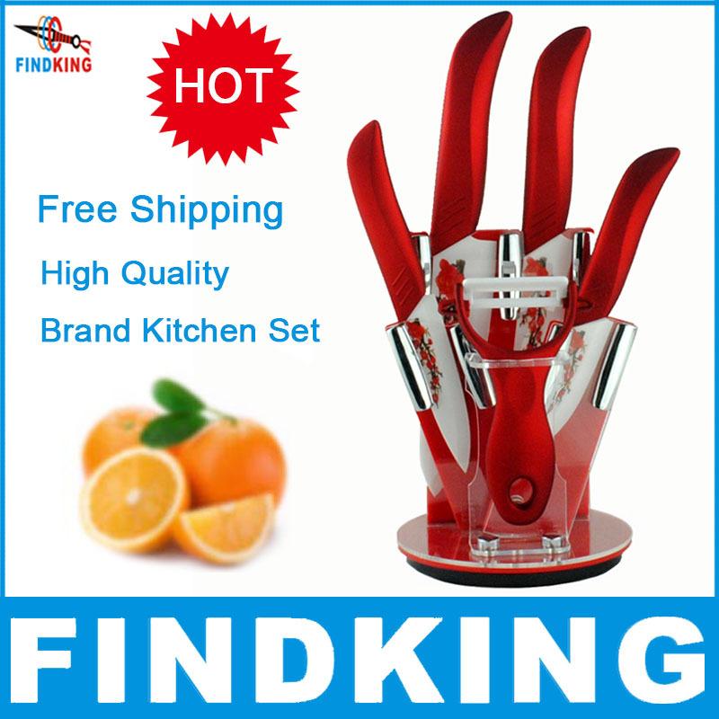 "Beauty Gifts brand high quality 6 piece a set Zirconia kitchen set Ceramic Knife tool Set 3"" 4"" 5"" 6"" inch + Peeler+Holder(China (Mainland))"