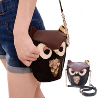 Women's Owl Pattern Splicing Color Shoulder Messenger Bag Cross Body Bag PU leather  Holder Cover School Tote Small Bag Handbag