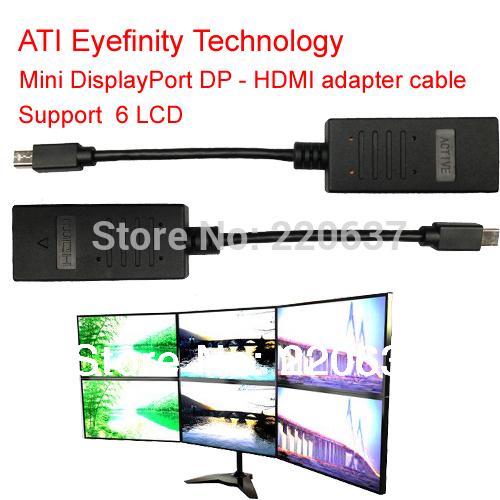 ATI Eyefinity Active Mini DisplayPort to HDMI cable Mini DP to HDMI adapter cable support ATI Eyefinity 6 LCD support 6 LCD(China (Mainland))