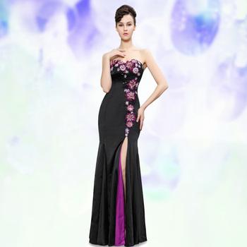 HE09928BK Elegant Strapless Flowers Sequins Slitted Trailing Evening Dress
