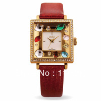 New 2014 Women Rhinestone Watches,Fashion Ladies Quartz Watch,Famous Korea JULIUS Brand Luxury Woman Relojes,Leather Strap Clock