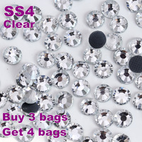 Big Promotion!ss4(1.4-1.6mm)1440pcs/bag Crystal White Clear Hotfix Flatback Rhinstones DIY  Iron-on Hot Fi