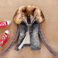 Korean version  womens winter warm jacket Artificial wool Fur collar thick denim Long sleeve clothing J_26