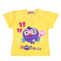 5005 children's clothes baby girls short-sleeve cartoon tees child summer cotton 100% yellow/hot pink shirts wholesale