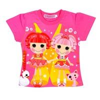 lalalucy children 100%cotton  clothing baby girls short-sleeve cartoon t-shirt kids summer clothes 6pcs/lot good quality