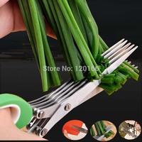Stainless steel scissors /5 layer scissors/ kitchen scissors porphyrilic sushi shredded/ scallion cut /herb scissors