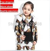 Children'S Clothing Female Child Autumn And Winter Female Child Casual Wadded Jacket Set Thickening Sweatshirt Piece Set Girl