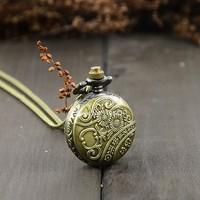 New Retro Vintage Bronze Steampunk Quartz Necklace Pendant Chain Clock Pocket Watch Eiffel Tower Hollow b23 18825