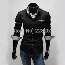 VENDA Plus Size 2014 qualidade superior dos homens Casual vestir camisas de mangas compridas ajuste camisas finas chemise homens homme Camisa Masculina sociais(China (Mainland))