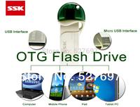Brand SSK SFD238 Mobile OTG USB Flash Drive 32GB micro USB Flash For Samsung HTC LG Sharp Lenovo Android Smart Phone Pad Tablet