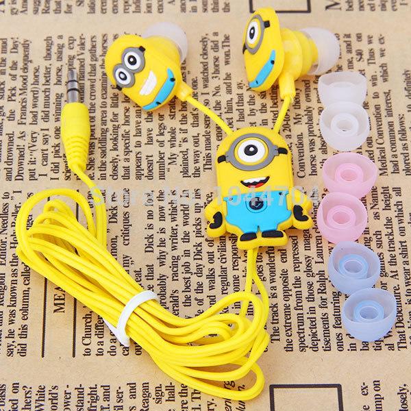 Free shipping Cartoon Anime headphone Despicable Me Minions fone de ouvido Cute Earphone music In-Ear headphones for girl & kids(China (Mainland))