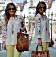 2014 White/Blue/Black/Yellow Women Lace Sleeve Chiffion Blouses Tops Emboriey Gorgeous Shirts Long Sleeve Camisa De Renda Blouse