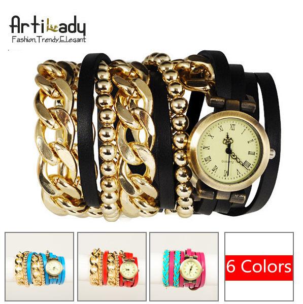 Artilady new wrap wrist watch retro leather watch with gold chain beads bracelet stack layer watch women jewelry(China (Mainland))