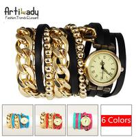 Artilady new wrap wrist watch retro leather watch with gold chain beads bracelet stack layer watch women jewelry