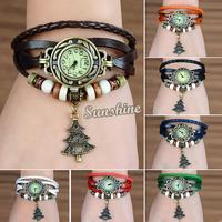 2014 New Arrival Women's Quartz Christmas tree Weave Wrap Synthetic Leather Bracelet Wrist Watch 7 Colors 19257
