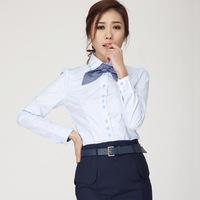 2014 Women's Work Wear Slim Waist Bow Tie Turn-Down Collar Office Lady Shirt Blouse Tops Free Shipping