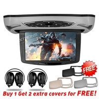 "10.1"" HDMI Port Car Roof Mounted Flip Down DVD Player Overhead Ceiling DVD 1240*600 Touch Button Extra Case & IR headphones"