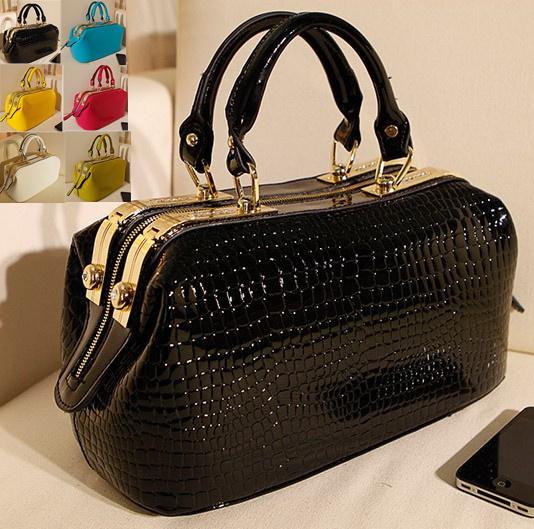 Women bag leather Crocodile pattern Handbag Messenger Bags Bolsas Femininas doctor bag patent Ladies Fashion BagsTotes croc(China (Mainland))