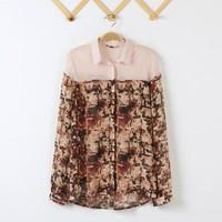 Women Flower Prints Color patchwork  Chiffon Blouse Ladies Casual  Shirts SW7118-H03