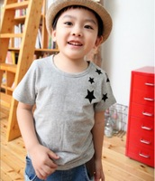 Free shipping new retails summer children kids short sleeve boys t shirt with fashion stars pattern children boys t shirt
