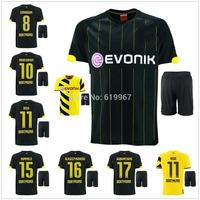 HOT 14/15 Borussia Dortmund away home black soccer football jersey + shorts kits, best quality soccer uniform embroidered logo