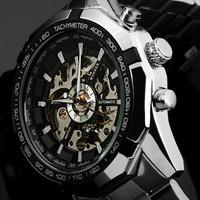 2013 New Winner Chronograph Clock Automatic Stainless Men Full Steel Skeleton Watch Men Mechanical Mens Watch Wristwatch For Men