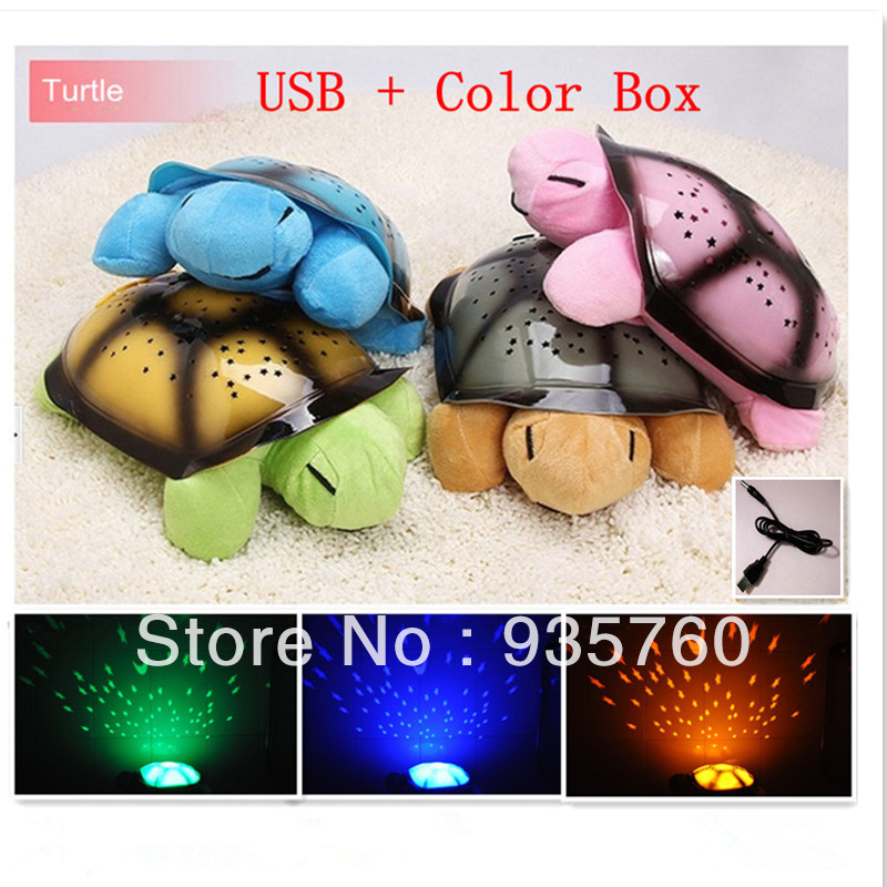Free Shipping 4 Colors 4 Musical USB Turtle Night Light Stars Constellation Lamp With Color Box(China (Mainland))