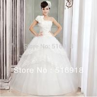 Hot Sale Fashion 2014 New Arrival Lace Sleeveless White High Quality Women Weeding Dress Sexy V-neck Princess Formal Bride Dress