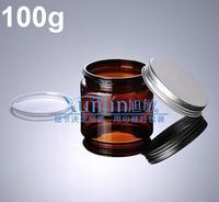 100pcs amber cosmetic container 100g plastic jar concealer masque foundation day cream treatment aluminum cap+ inner cover GBR02