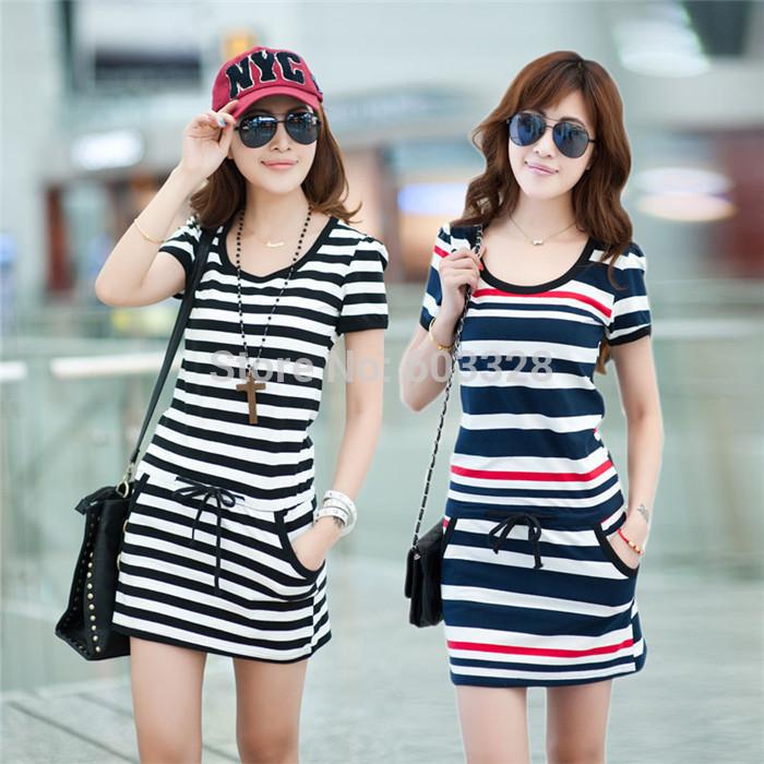 2014 Fashion Women's Summer Cotton Short Sleeve Crew Neck Stripe Tunic Mini Dress Ladies Casual Stylish One-piece Vestidos(China (Mainland))