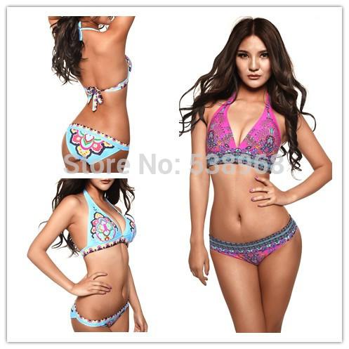 Free Shipping new 2014 Hot Europe Victoria Sexy Printing Bikini Bathing suit Swimsuit Swimear Bikinis Set Women Bikini Swimwear(China (Mainland))