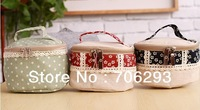 Zakka linen storage bag eco-friendly bag Cosmetic bag  dot printed handbag three color free shipping