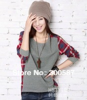 Retail 2014 new New Fashion popular arder  movement Women Loose Cotton Plaid Long Sleeve gray  Blouse Top Shirt  BAF2703