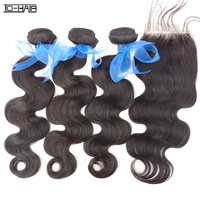 Unprocessed Cheap 5A Indian Remy virgin human hair body wave With Lace Closure bundles Natural black Color 1b# TD HAIR Products