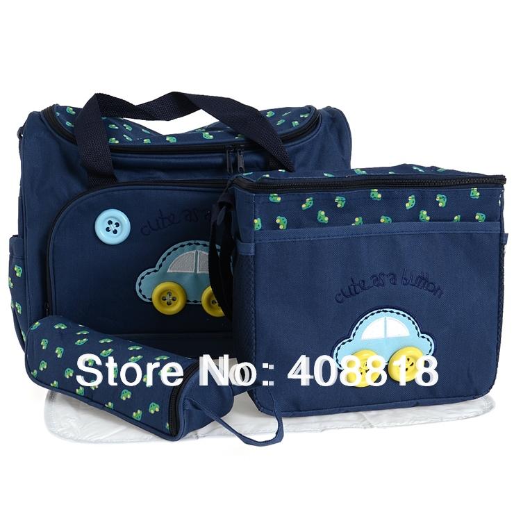 car combination mazarine/dark blue 4 Pcs/Set Baby Diaper Nappy Bag Mummy Changing Mat +Bottle Holder Handbag Set free shipping(China (Mainland))