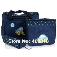 car combination mazarine/dark blue 4 Pcs/Set Baby Diaper Nappy Bag Mummy Changing Mat +Bottle Holder Handbag Set free shipping