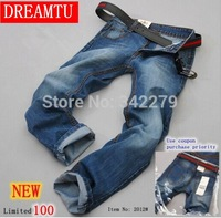 2014 Promotion Solid Modern Mid Denim Cotton Zipper Fly Light New Men's Jeans / Brand for Men Casual Waist Straight Washed Long