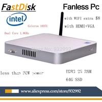 Fanless thin clients mini pcs intel celeron 1037u dual core 1.8GHz DDR3 2GRAM 64G SSD  windows/linux